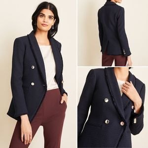 Ann Taylor Double Breasted Tweed Blazer 14